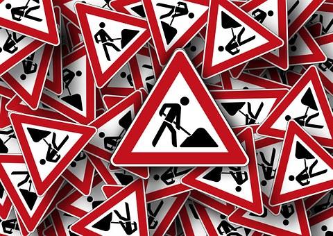Verkehrszeichen, Baustelle, Achtung