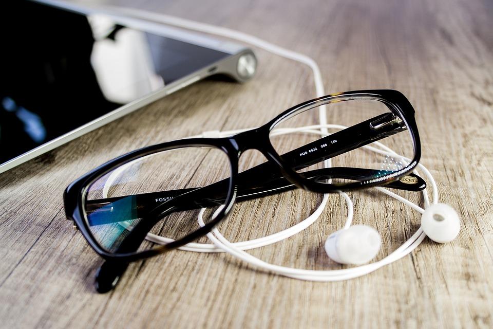 眼鏡, タブレット, オフィス, タッチ スクリーン, 読書用の眼鏡, ワークプ レース, ビジネス, 仕事