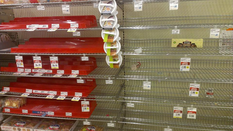 Supermarket, Shopping, Empty, Shelves, Hostess