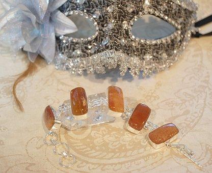 Calcite, Orange, Brown, Agate, Mask