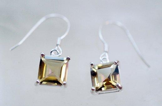 Topaz, Earrings, Natural, Stones, Gems