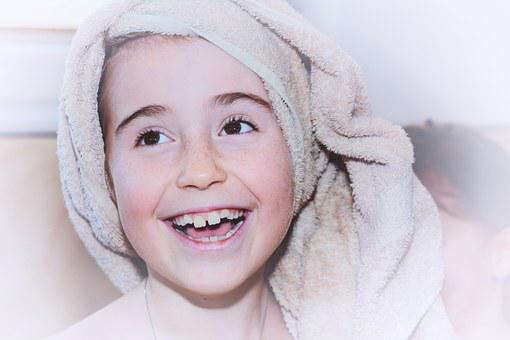 Child, Girl, Face, Towel, Laugh