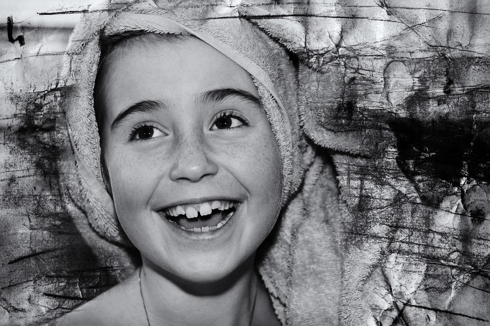 Niño, Chica, La Cara, Reír, Feliz, Retrato, Cerrar