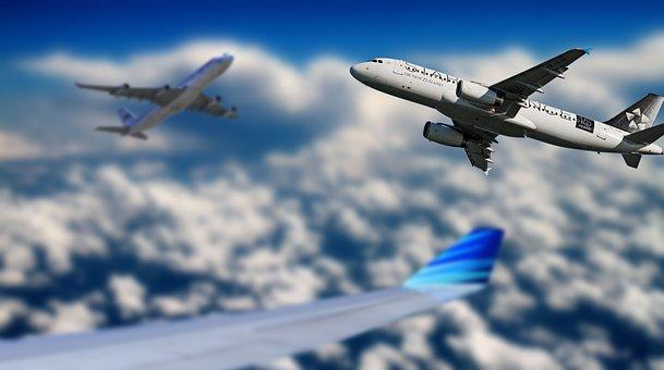 Aéronefs, Ciel, En Volant, Bleu
