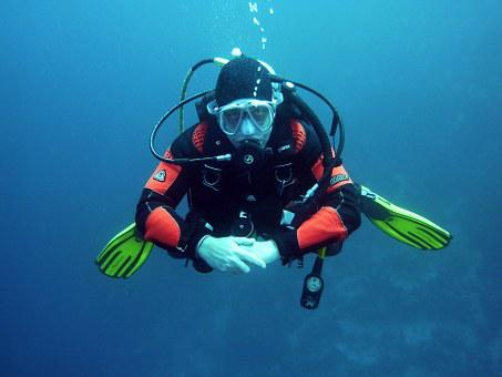 Divers Scuba Divers Diving Underwater Unde