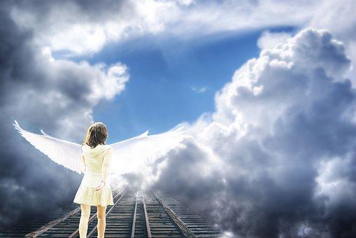 Angel, Ciel, Nuages, La Lumière, Ombre