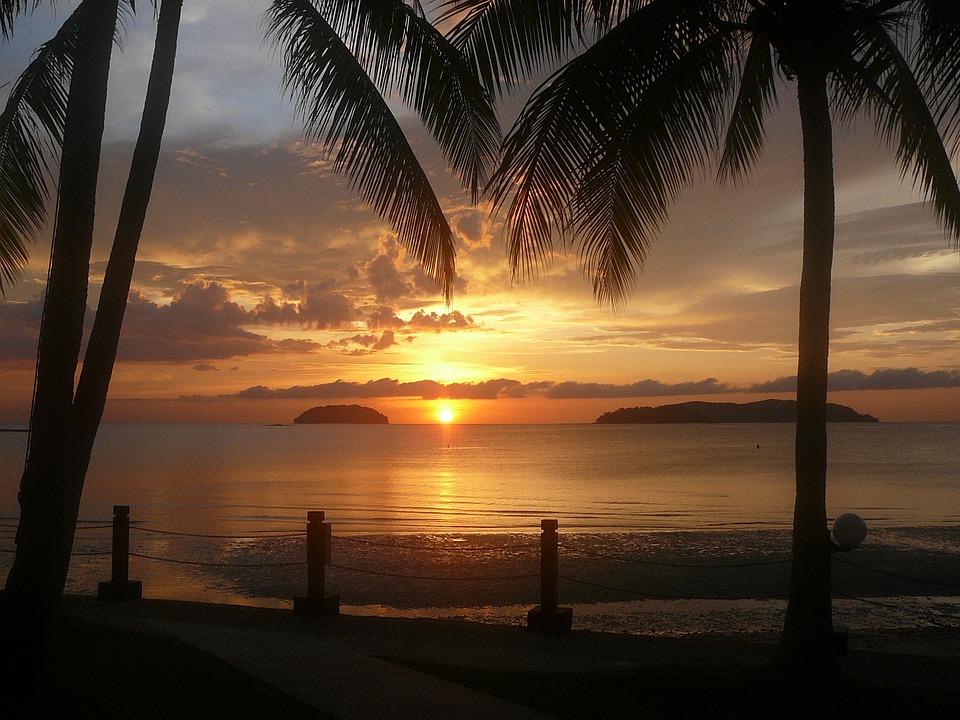 Zachód Słońca, Borneo, Wody, Beach, Lato, Ocean, Chmura