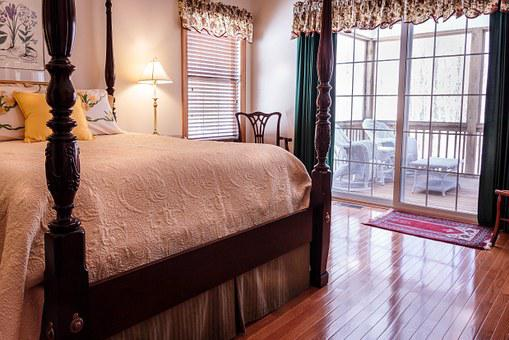 Bedroom Bed Hardwood Floor Curtains Drapes