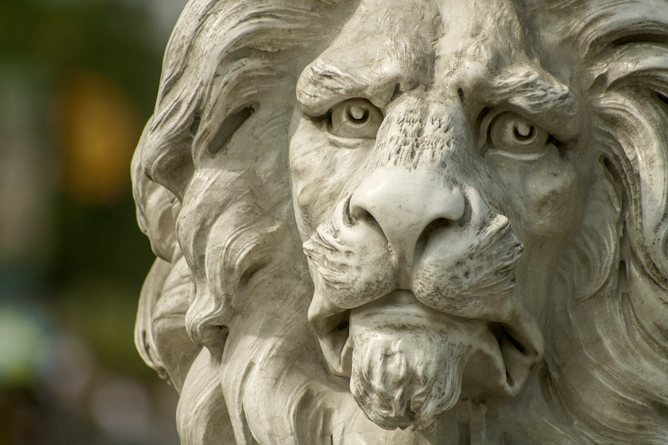 Lion, Statue, Zoo
