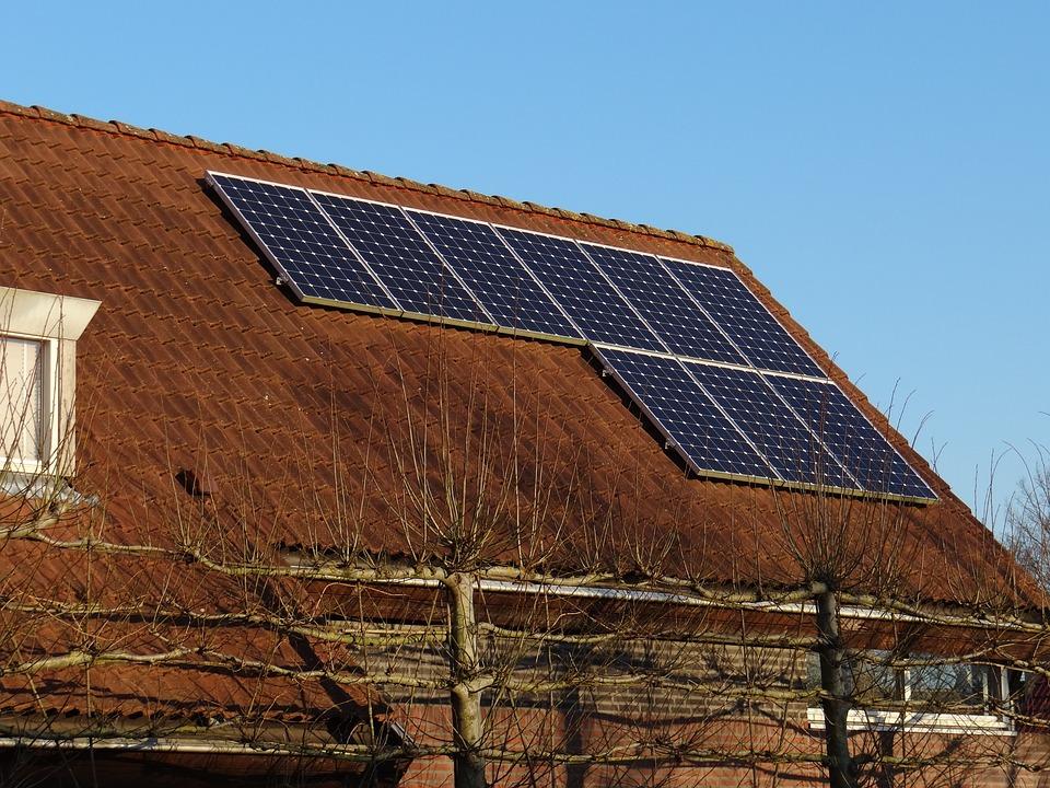Panneaux Solaires, Maison, Automne, Énergie Solaire