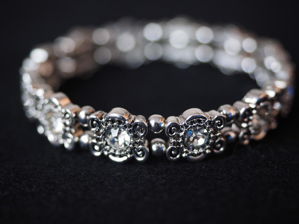 ブレスレット, バングル, ジュエリー, シルバー, ダイヤモンド, 宝石, 貴重な, 銀製の宝石類
