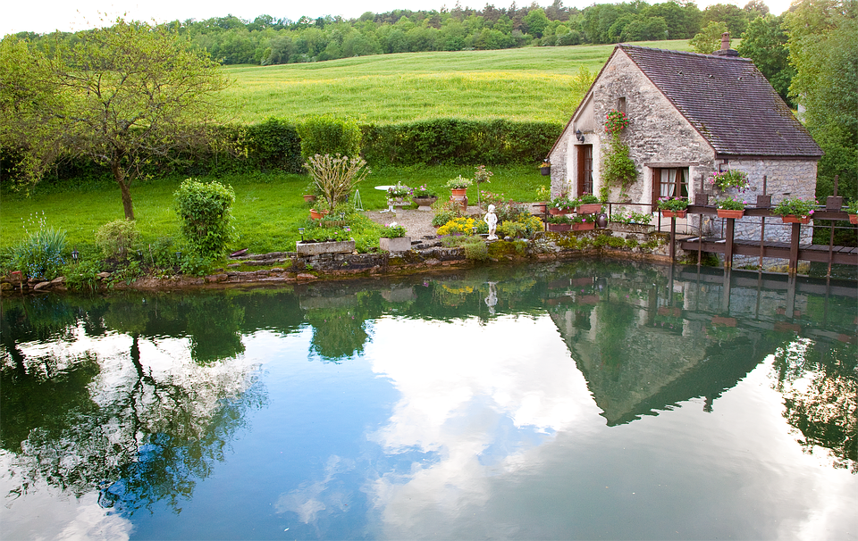 French Countryside Pond Cottage Reflections