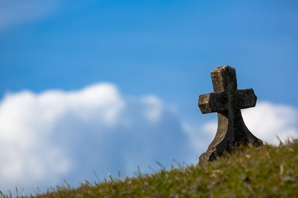 Grab, Himmel, Kreuz, Alte, Stein, Christliche