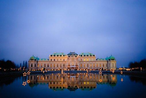Vienna, Night, Austria, Belvedere