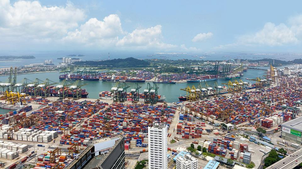 Port, Ships, Cranes, Load, Containers, Sea, Sky