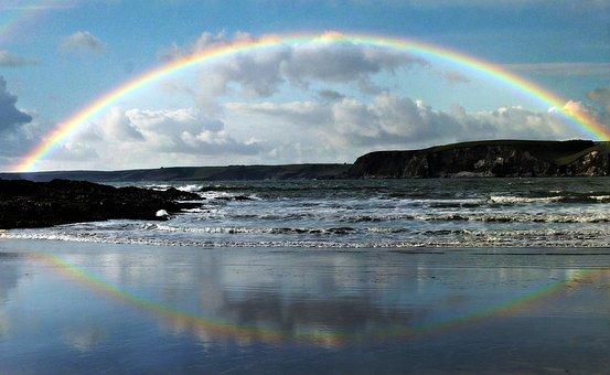 Regenbogen, Meer, Küste, Strand, Himmel