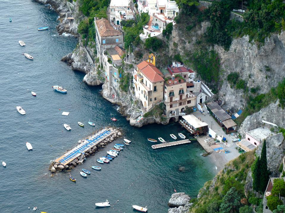Italia, Mare, Spiaggia, Costiera Amalfitana