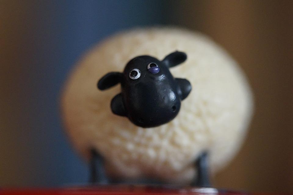 シャーリー, 羊, ひつじのショーン, かわいい, ぬいぐるみ, テディー ・ ベア, 厚, 頭, 白黒