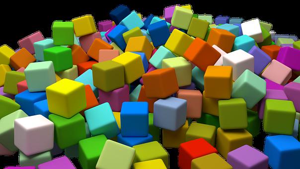 Cubes, Assorted, Random, Toys, Colourful