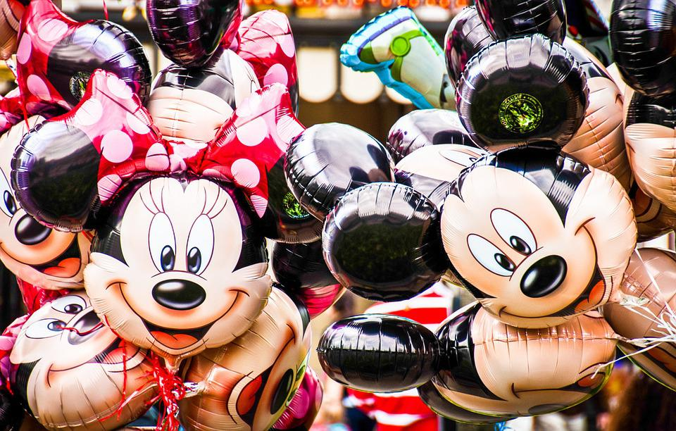 Disney, Balloons, Minnie Mouse, Mickey Mouse, Happy