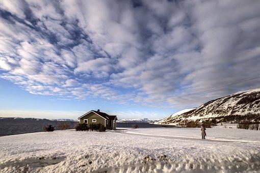 冰岛, 雪景, 风景, 房子, 天空, 云