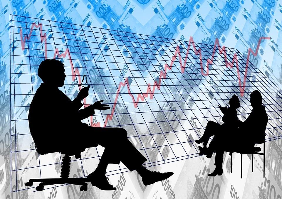 分析, お支払い, ビジネスマン, 会議, 銀行, 証券取引所, トレーディング フロア, Dollar