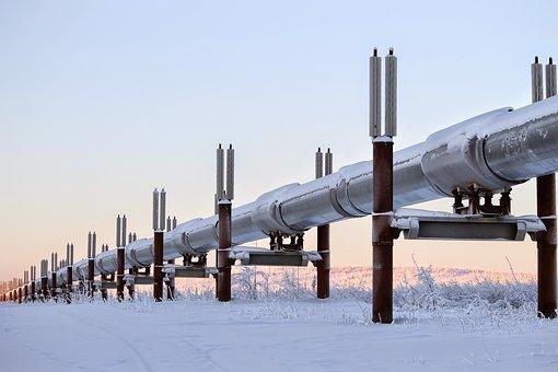 Winter, Alaska, Pipeline, Oil, Snow