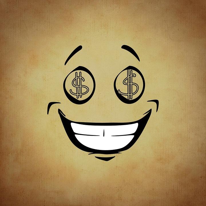 スマイリー, 絵文字, お金, 欲, おかしい