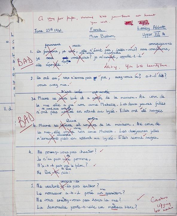 学校, 試験, フランス, 悪い, 間違った, 失敗します, 先生, 教育, 学習, 1960 年代