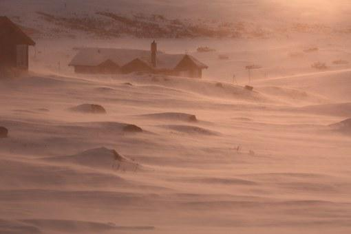 Snow, Wind, Norway, Cabins, White