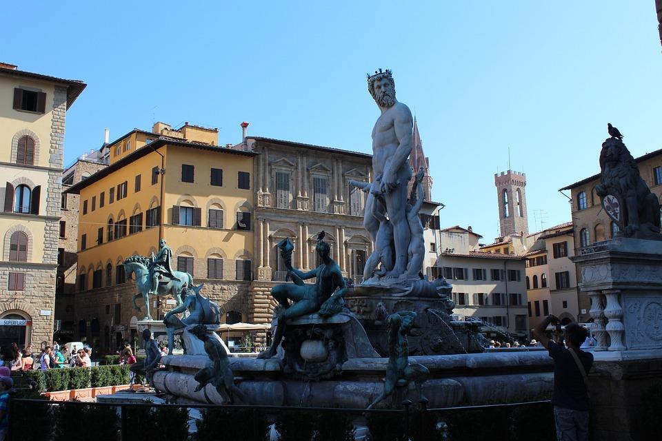 Piazza Della Signoria, Florence, Olaszország, Határkő