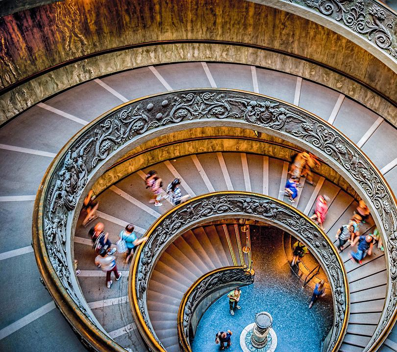 Stairs, Circular Staircase, Vatican Museum, Circle
