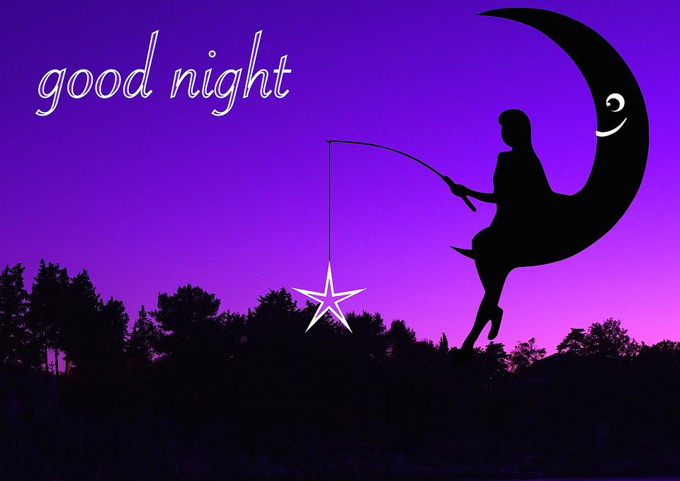 Exceptionnel Illustration gratuite: Femme, Lune, Nuit, Bonne Nuit - Image  BQ65