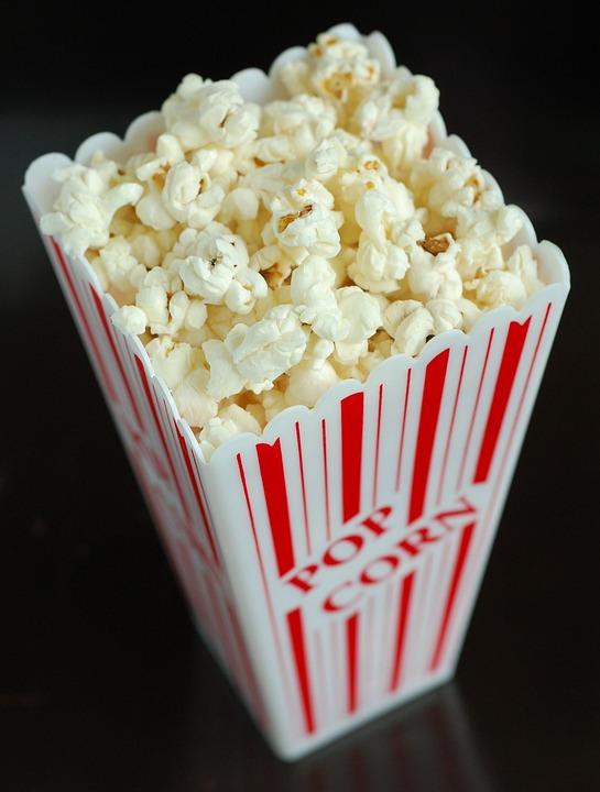 食品, ポップコーン, スナック, 映画, トウモロコシ, 食べる, ホワイト, 映画館, 食べること, 劇場