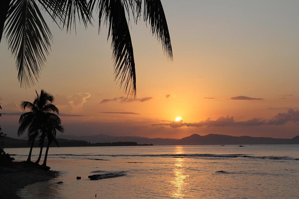 Beach, Sunrise, Haiti, Karaiby, Palma, Tropikalny