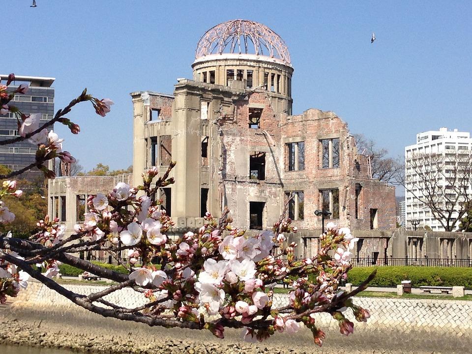日本, 広島, 桜の花, さくら, 原爆ドーム, 平和, 桜