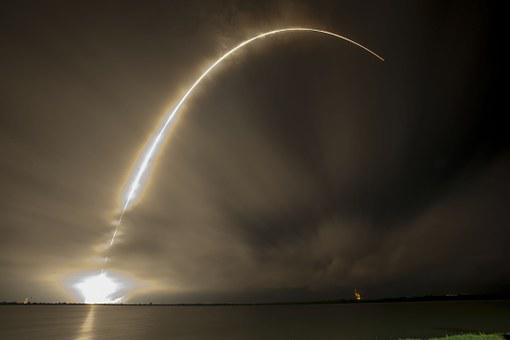 Rocket Launch, Night, Trajectory, Spacex