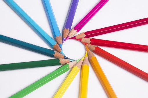 Pennor, Färger, Pastell, Rainbow