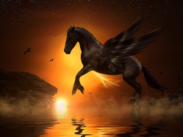 free photo pegasus moon jump rock gold free image