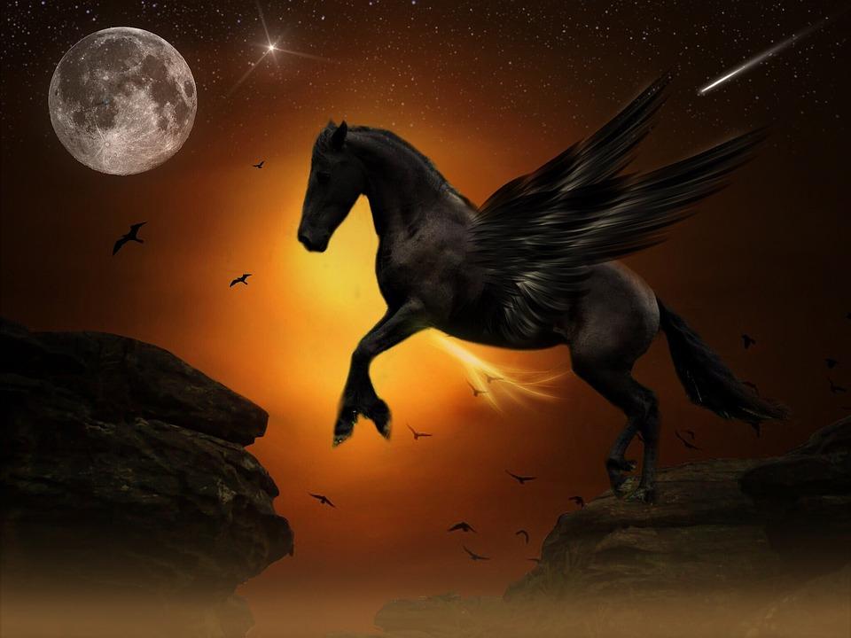 free photo pegasus moon jump rock gold free image