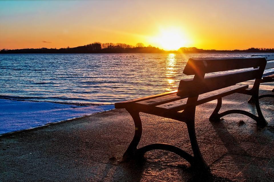Free Photo Lake Bench Sunset Free Image On Pixabay