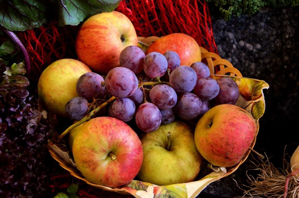 Frutta, Cesto Di Frutta, Uva, Apple, Uve Rosse, Fresco