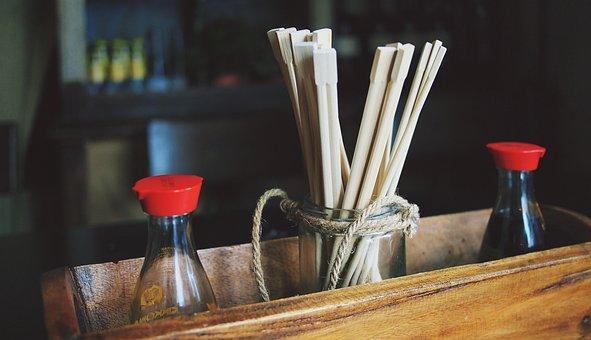 箸, 醤油, 寿司, レストラン