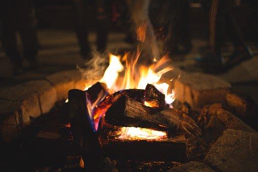 Feu de joie, Flammes, Bois, Bûches, Camping