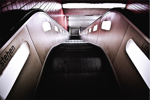 Escalator, Subway Station, Stairs, Down