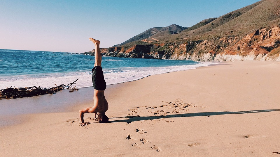 Free Photo: Handstand, Guy, Man, Beach, Sand
