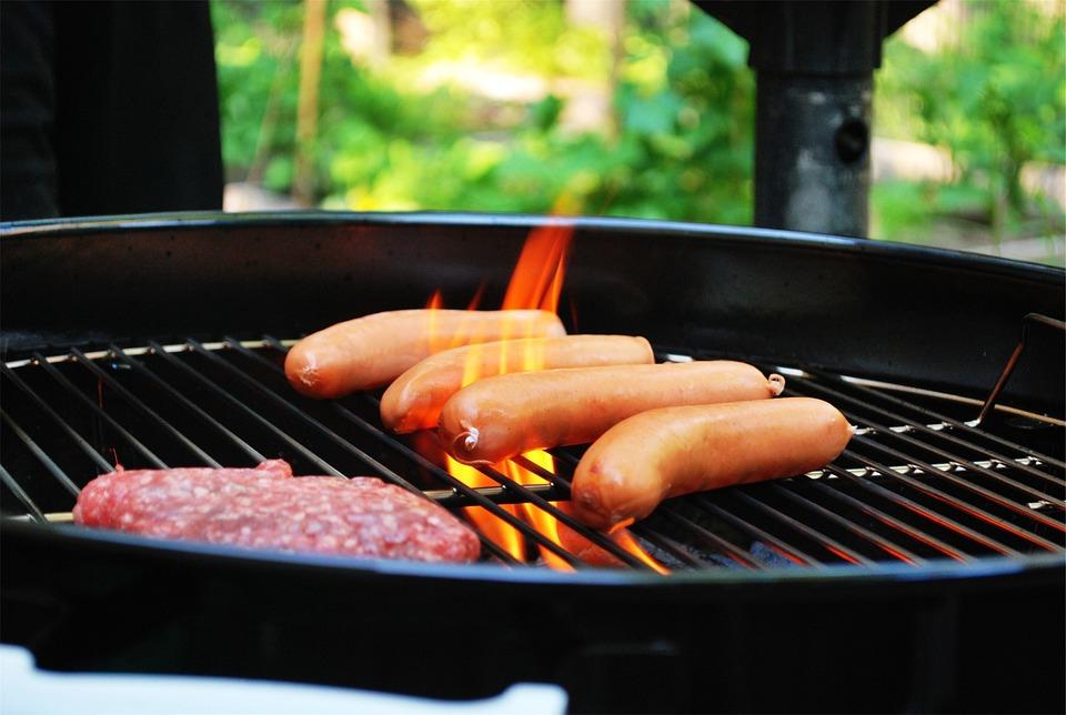 バーベキュー, グリル, 肉, ホットドッグ, ハンバーガー, 食品, Cookout, 炎, 火, 昼食