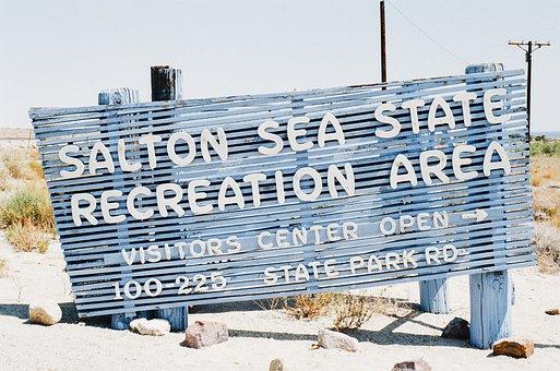 Salton, Sea, Sign, Sand, Beach