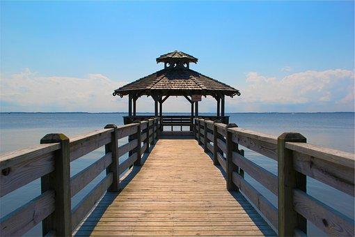 Pier, Gazebo, Ocean, Sea, Water, Blue