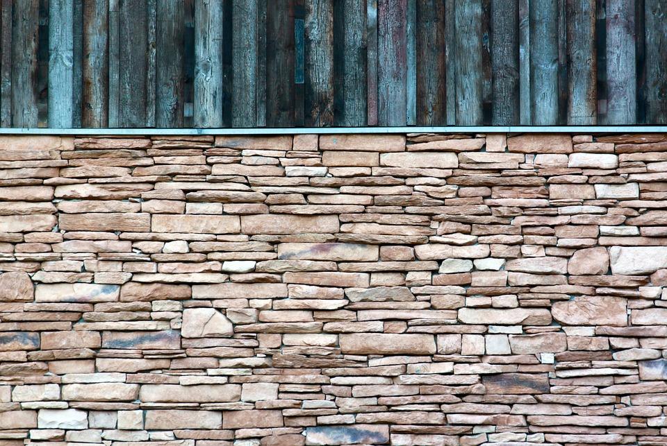 muro madera piedra fachada muro de piedra